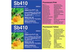 SB410 Dye-Sub Fluorescent Ink (2 Liter Pack)